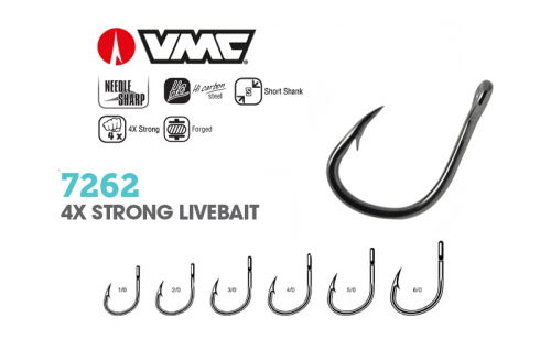 Куки VMC 7262 4X Strong Livebait