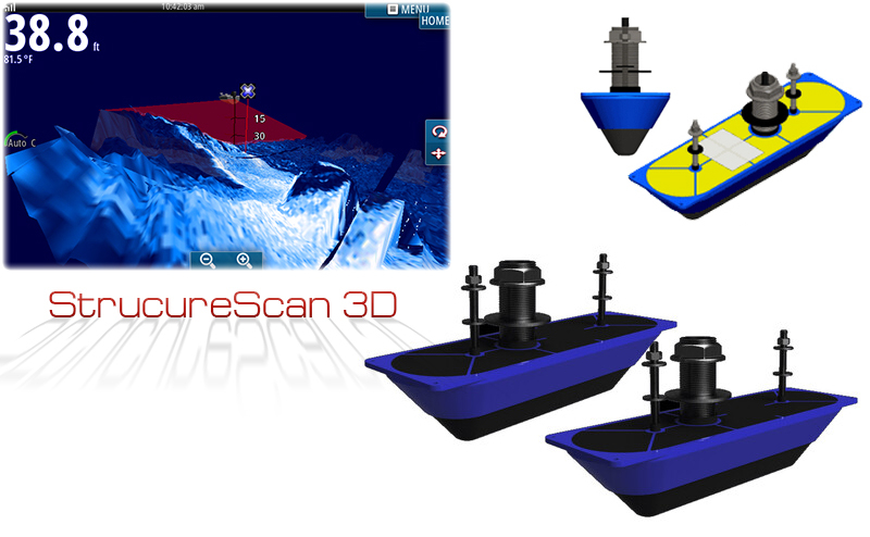 Комплект две сонди Simrad StructureScan 3D за монтаж през корпуса